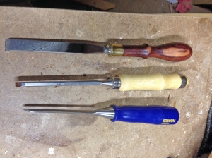 Three of my chisels.
