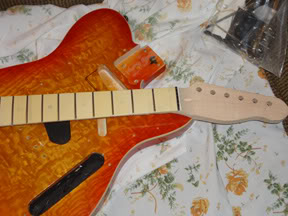 The re-shaped GFS neck with the Tele body.