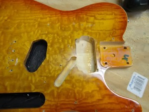 The finished neck humbucker cavity.