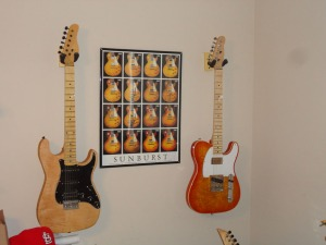 The Partscaster Tele is at the right.
